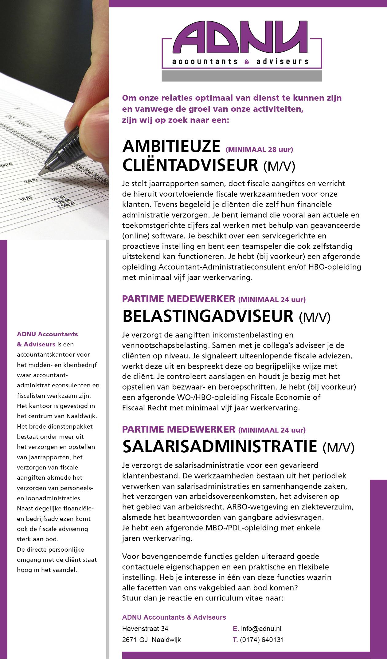 Advertentie ADNU Personeel aug 2017